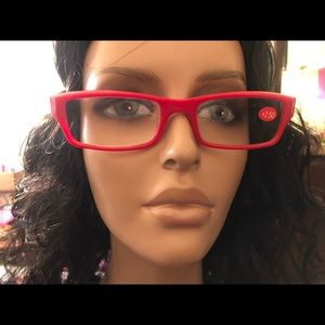 Pair of Red Print Reading Glasses +2.50